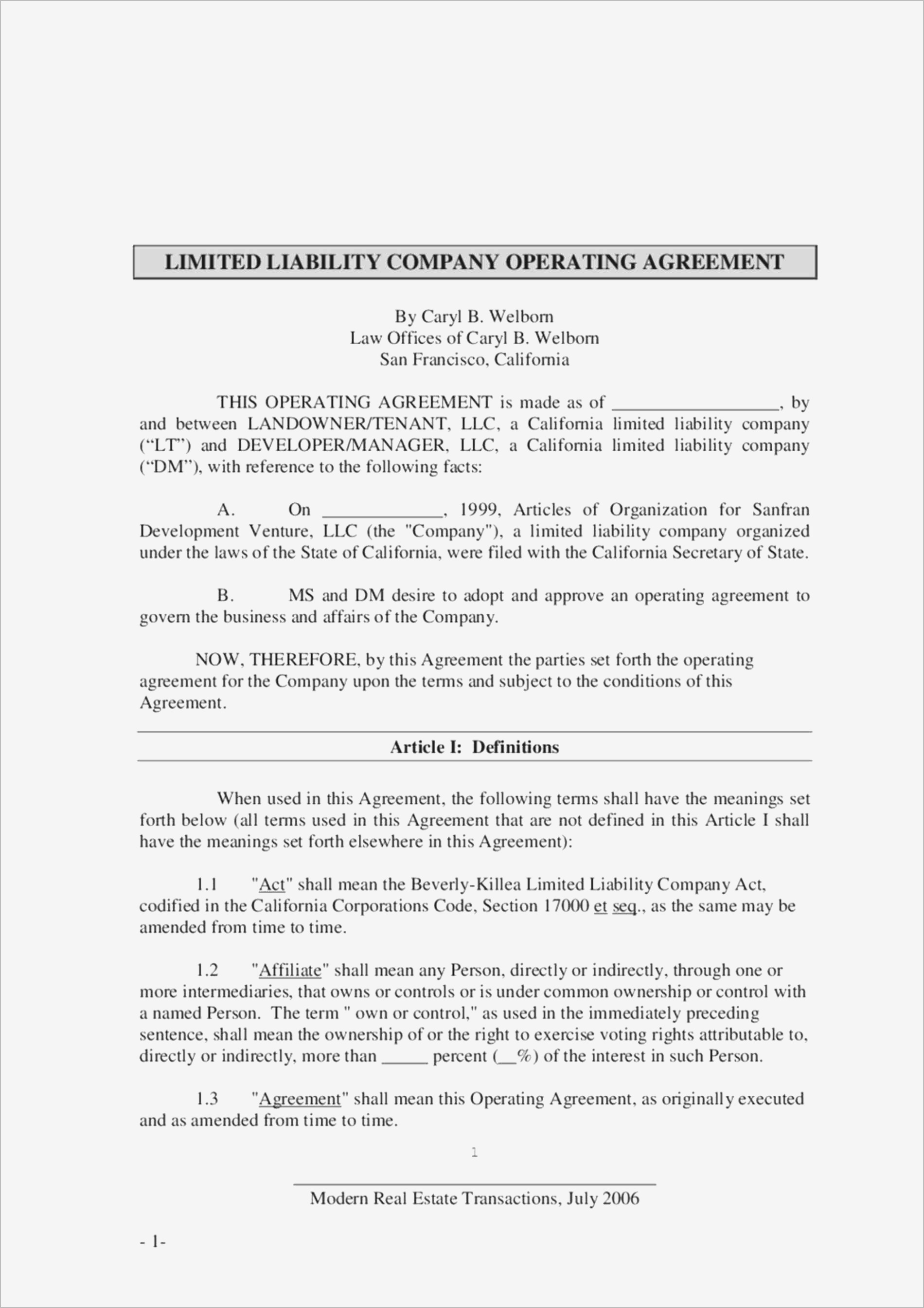 Operating Agreement Llc Nj Gtld World Congress