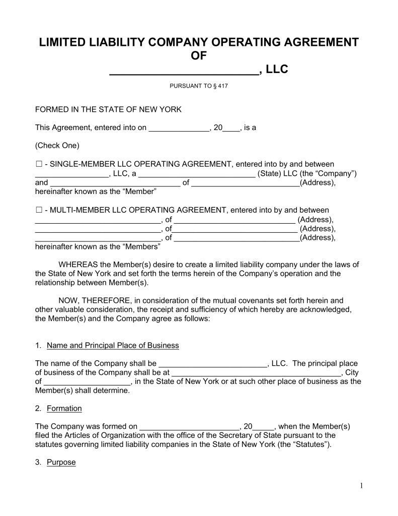 Free New York LLC Operating Agreement Forms PDF | Word | eForms