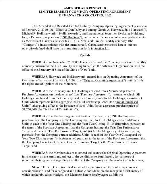 Nys Operating Agreement Llc Template