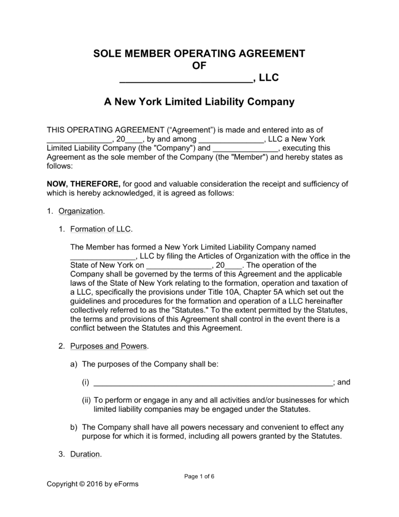 Free New York Single Member LLC Operating Agreement Form Word