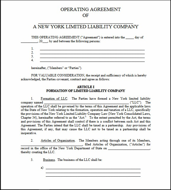 new york single member llc operating agreement template ny llc