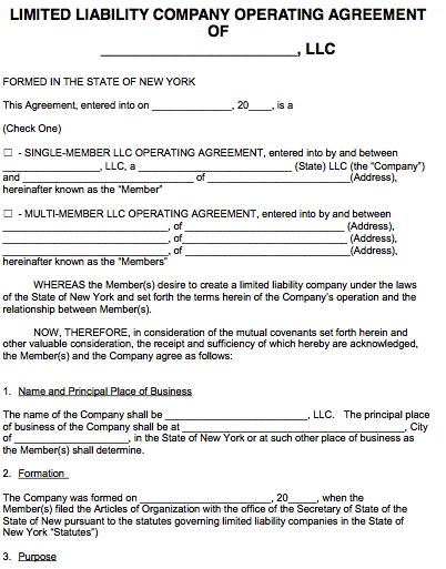 Free New York LLC Operating Agreement Template | PDF | Word |