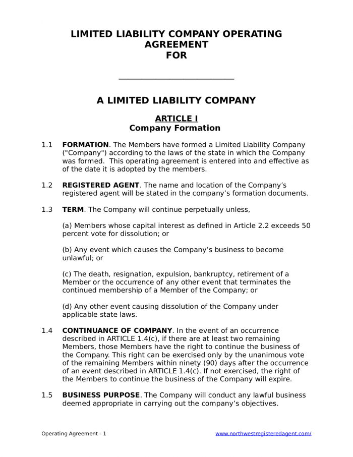 Free LLC Operating Agreement for a Limited Liability Company