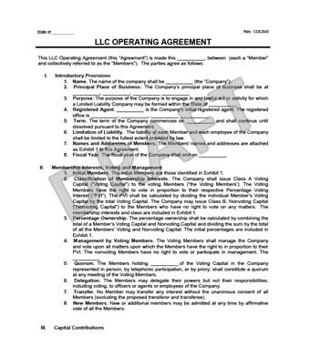 limited liability company operating agreement template llc