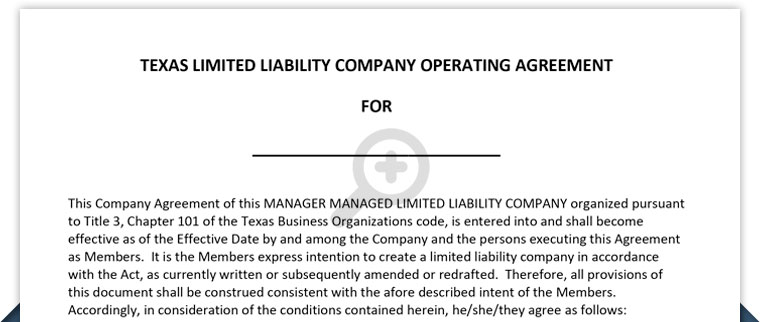 TEXAS LLC OPERATING AGREEMENT – Free Template