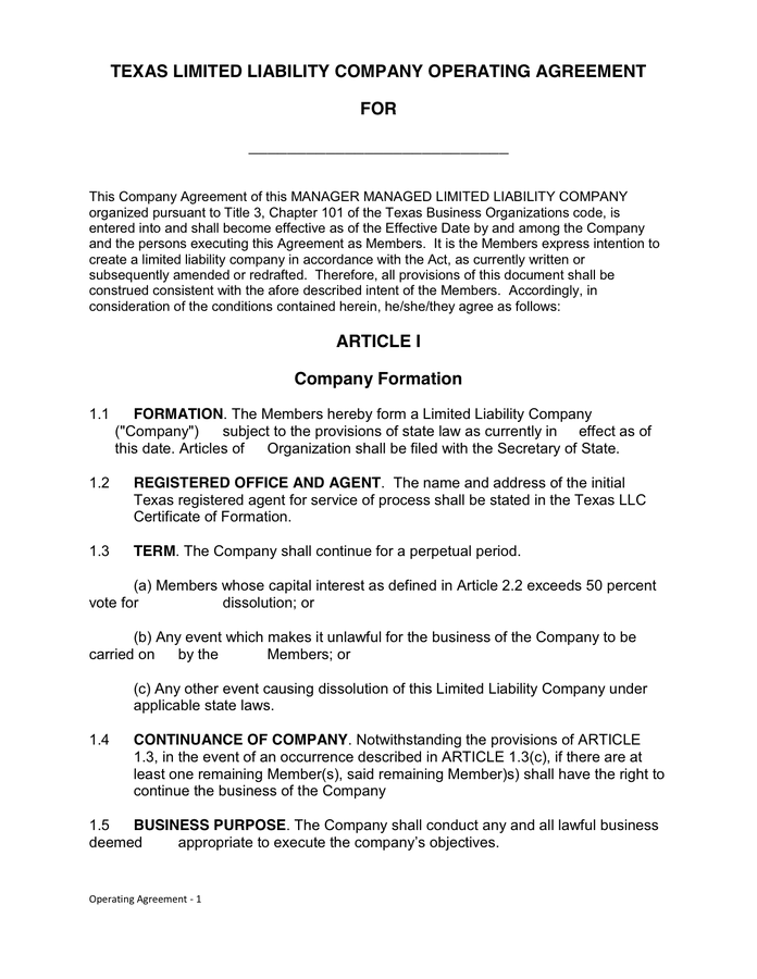 operating agreement llc texas template texas llc operating