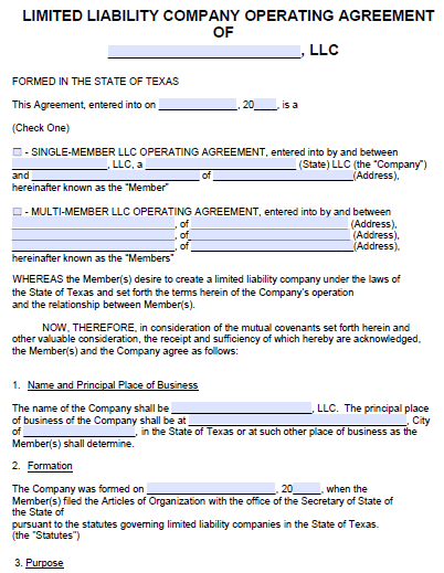 Free Texas LLC Operating Agreement Template | PDF | Word |