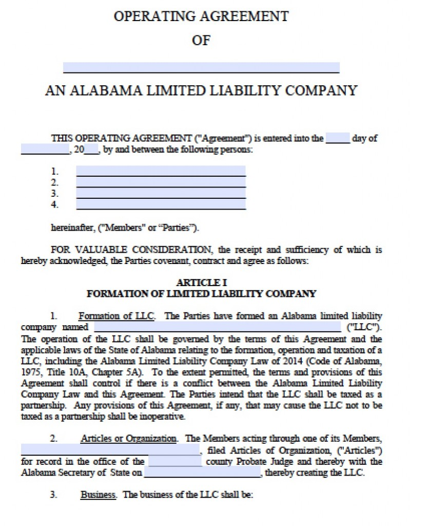 Free Alabama LLC Operating Agreement Template | PDF | Word |