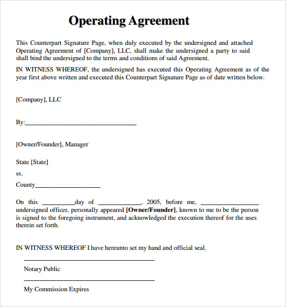 operating agreement template free free llc operating agreement