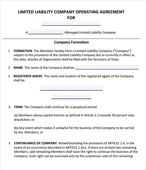 Simple Operating Agreement Llc Template