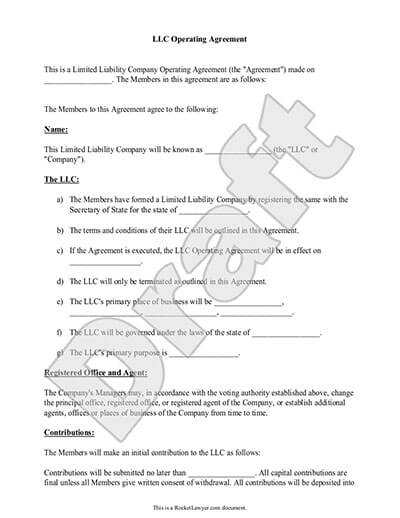 operating agreement llc template free llc operating agreement