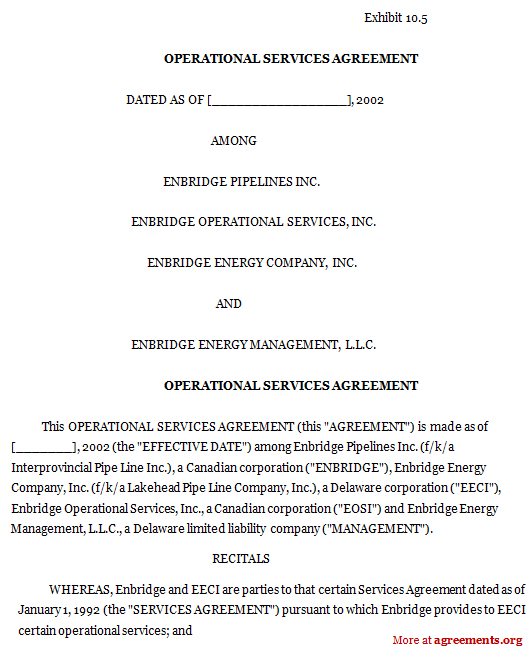 Operational Services Agreement, Sample Operational Services Agreement