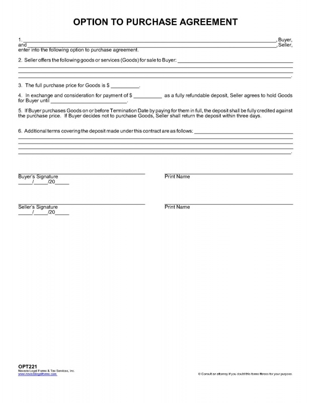 OPTION TO PURCHASE AGREEMENT Nevada Legal Forms & Tax Services Inc.