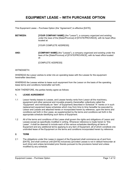 Equipment Lease Agreement With Option to Purchase Template