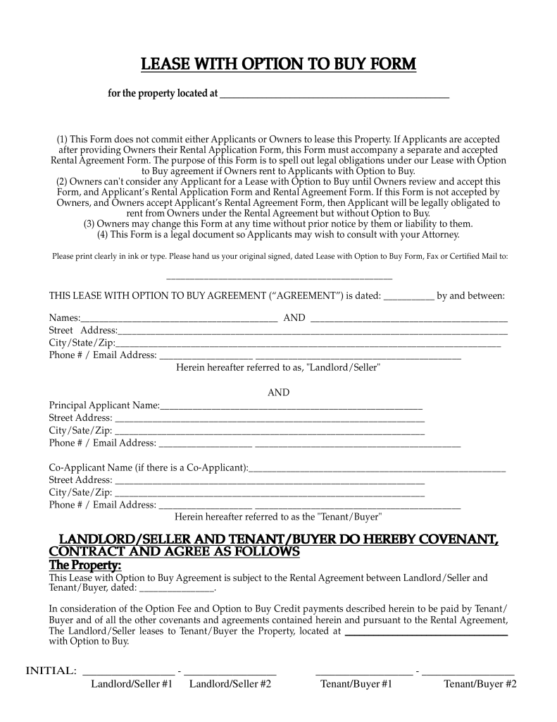 Free New Mexico Lease with Option to Buy Agreement PDF | eForms