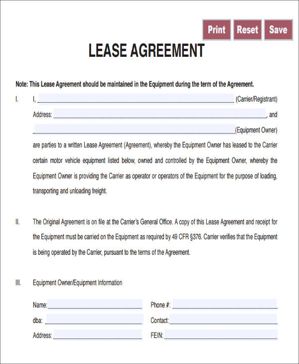 owner operator lease agreement template 7 owner operator lease