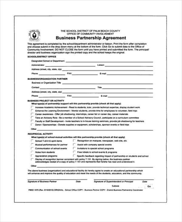 Sample Partnership Agreement Form 12+ Free Documents in PDF