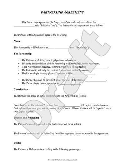 contract partnership agreement template partnership agreement