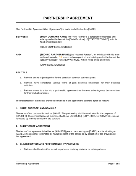 partnership agreement templates partner agreement template