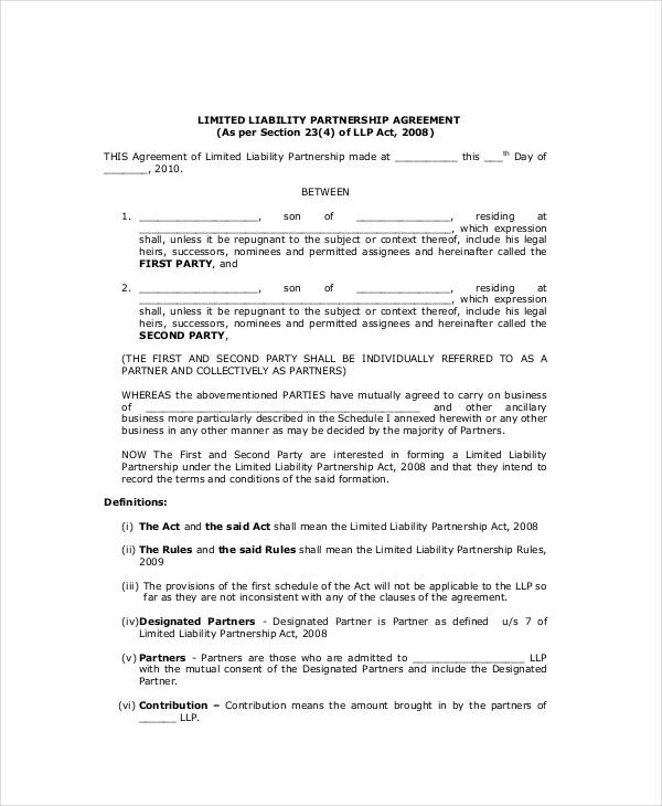 limited partnership agreement template pdf limited liability