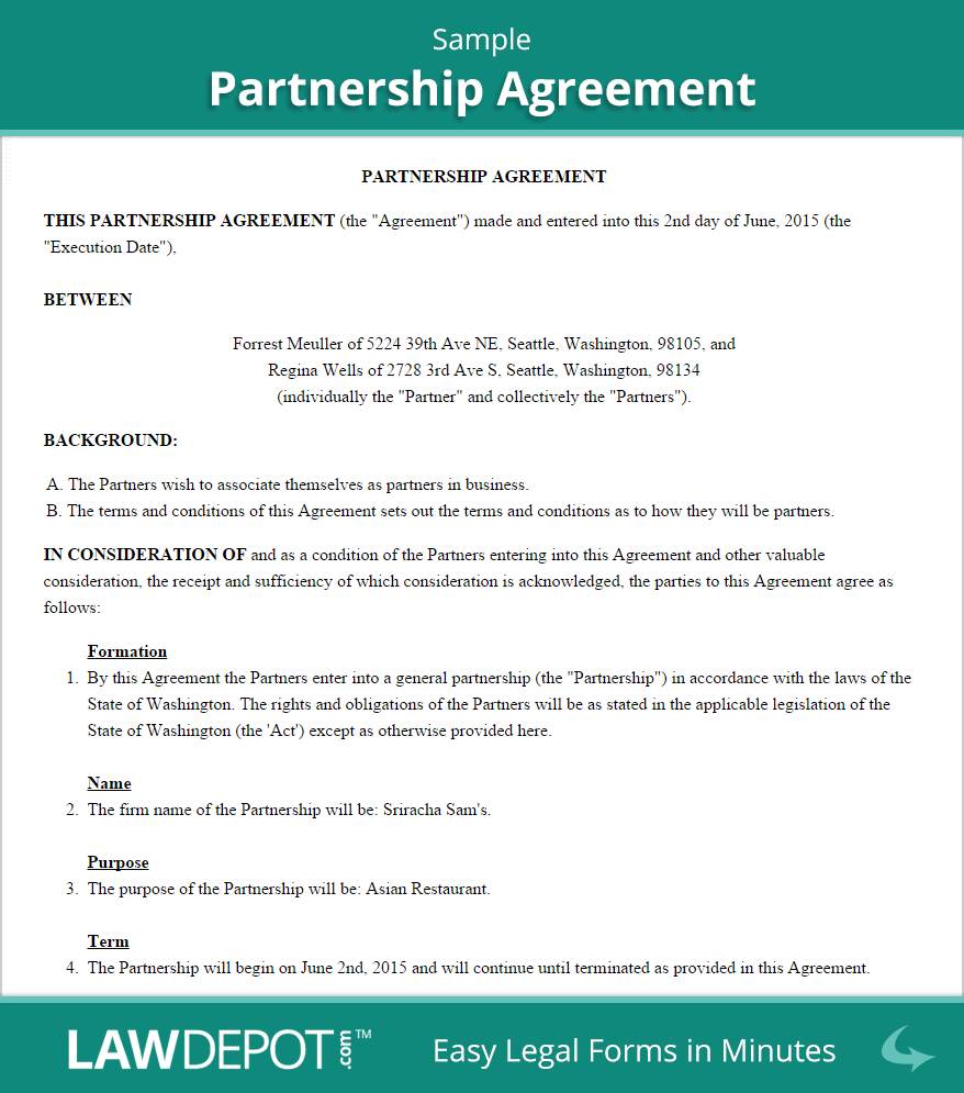 Partnership Agreement Template (US) | LawDepot