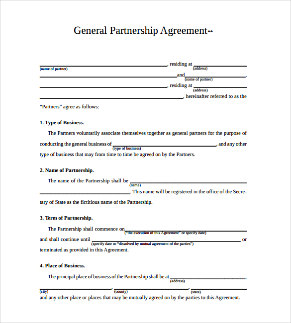 business agreement template pdf business partnership agreement