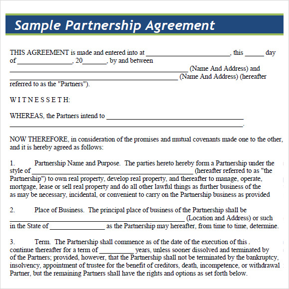 business partnership agreement template free download download