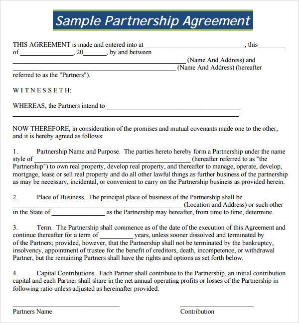 free partnership agreement template business partnership agreement