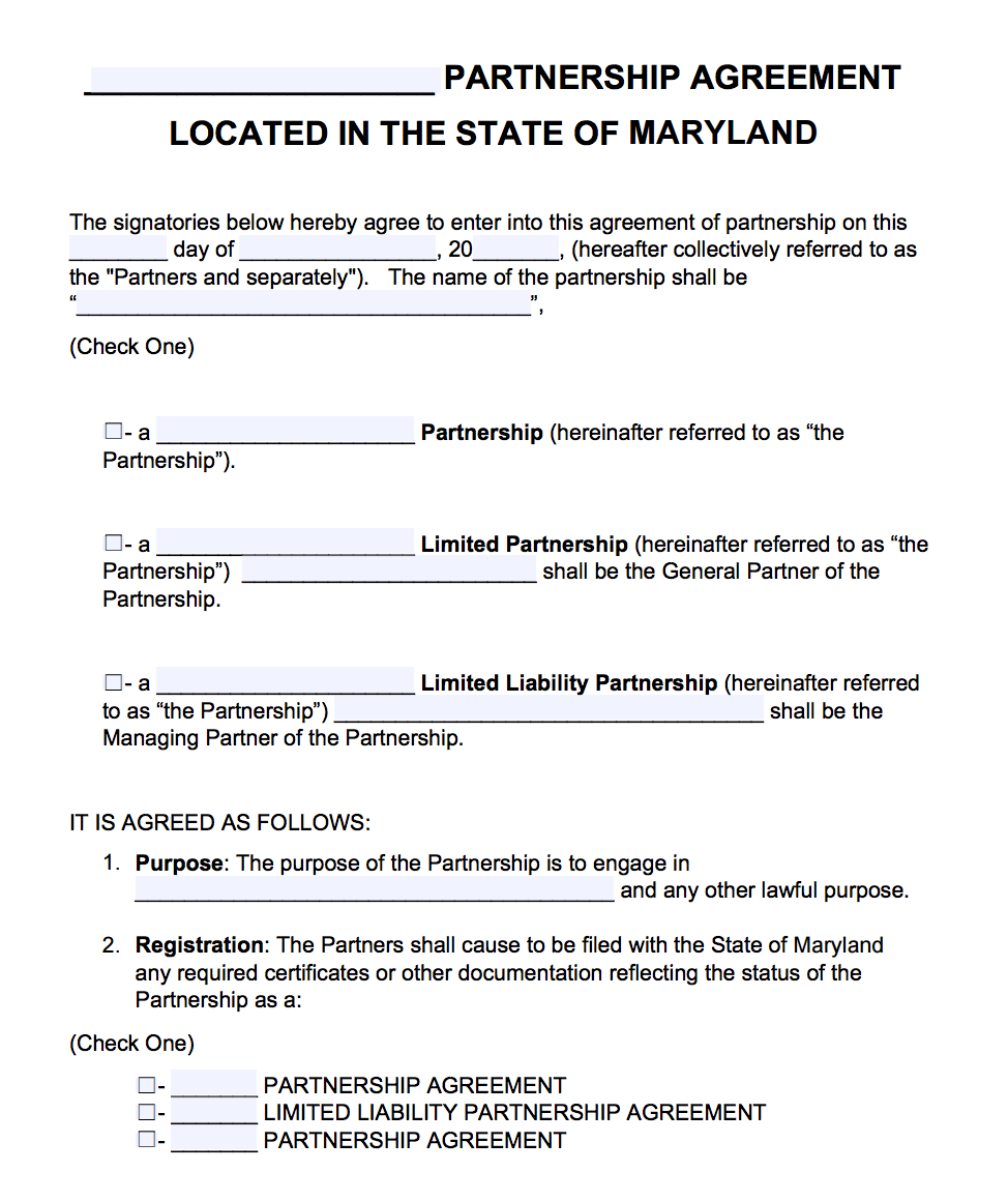 Free Maryland Partnership Agreement Template | PDF | Word |