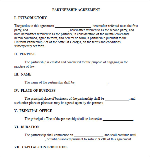 partnership agreement template word company partnership agreement