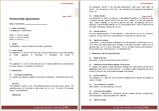 partnership agreement template word document partnership agreement