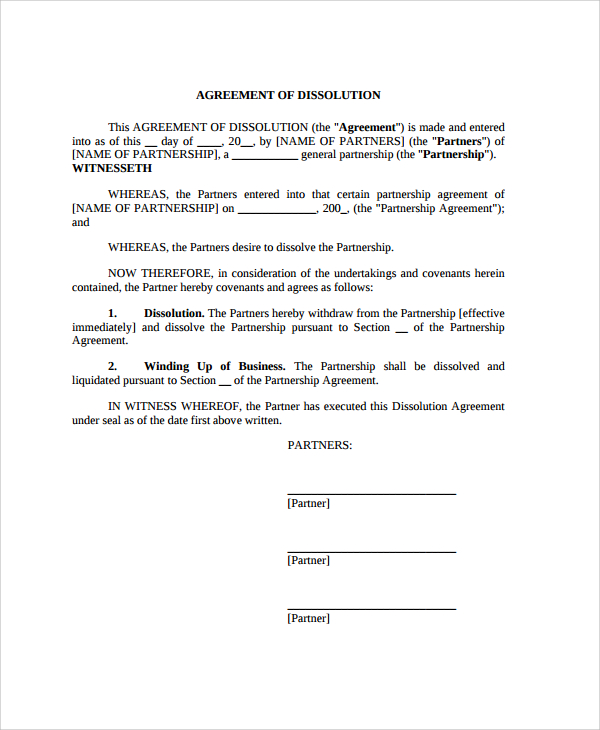 partnership dissolution agreement template sample partnership