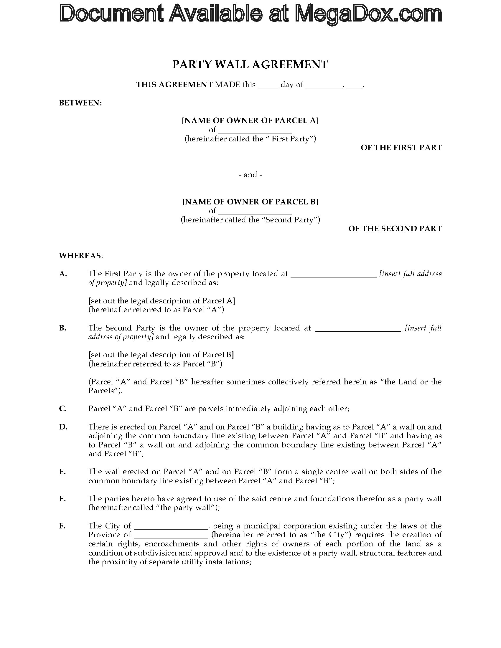 Canada Party Wall Agreement | Legal Forms and Business Templates