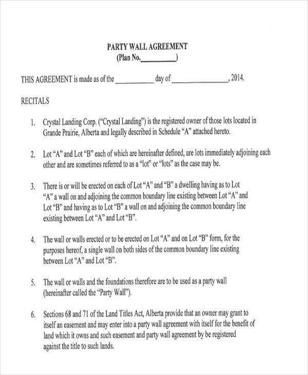 party wall agreement template 8 party wall agreement form samples