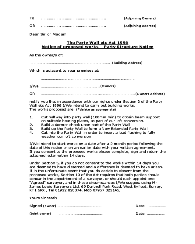 party wall agreement template loft conversion party wall agreement