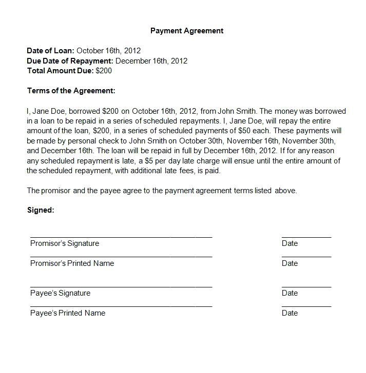 payment agreement letter between two parties template agreement