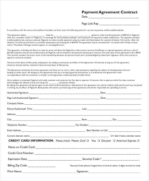 payment agreement contract template 5 payment contract samples