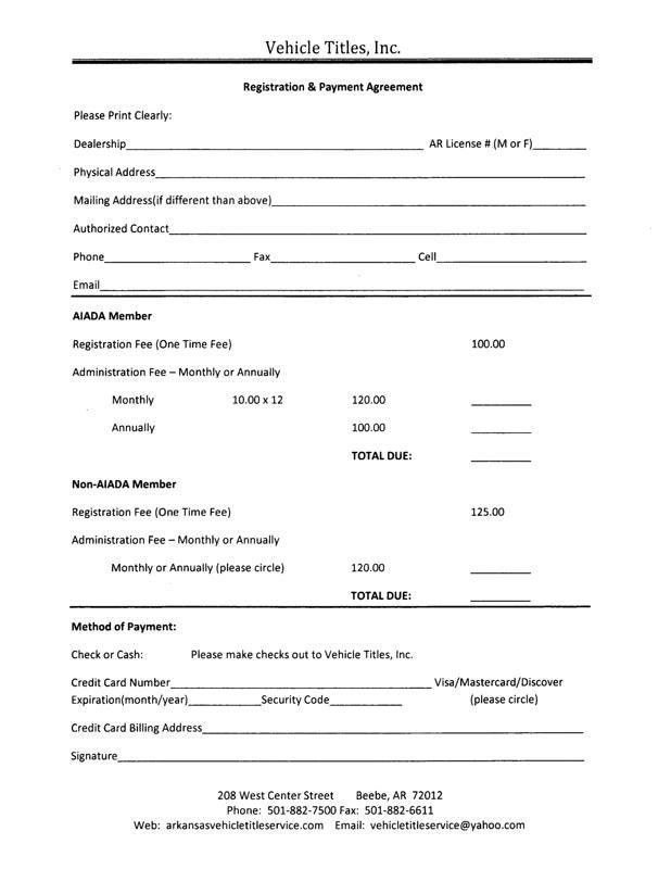 Installment Agreement Template. Vehicle Payment Contract Template