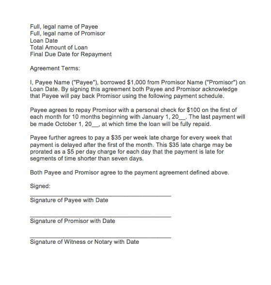 Letter of agreement for payment | Top Form Templates | Free