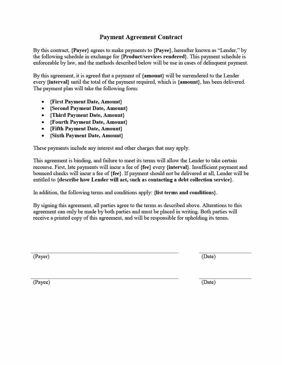 Payment Agreement 40 Templates & Contracts Template Lab