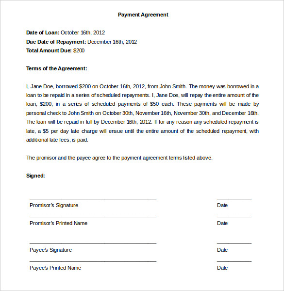 agreement template to pay payment plan agreement template 25 free