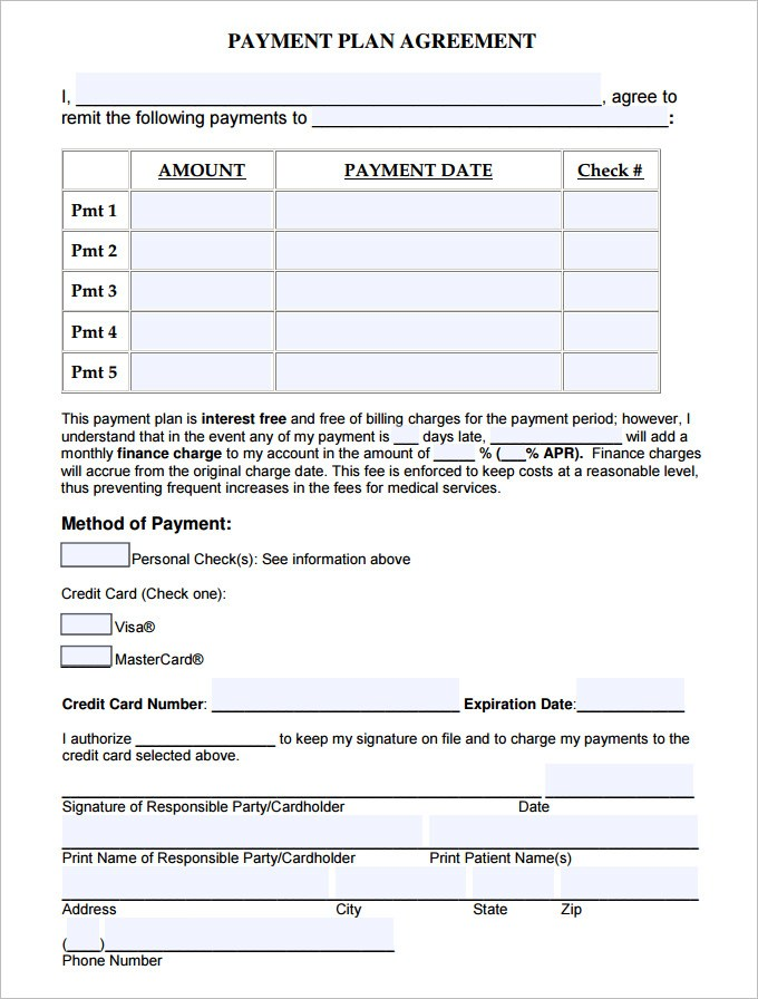 Payment Plan Agreement Templates Word Excel Samples