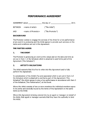 Performance Agreement Fill Online, Printable, Fillable, Blank