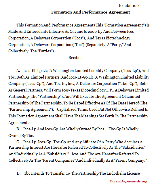 Formation and Performance Agreement,Sample Formation and