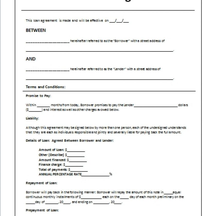 free loan agreement template private loan agreement template free