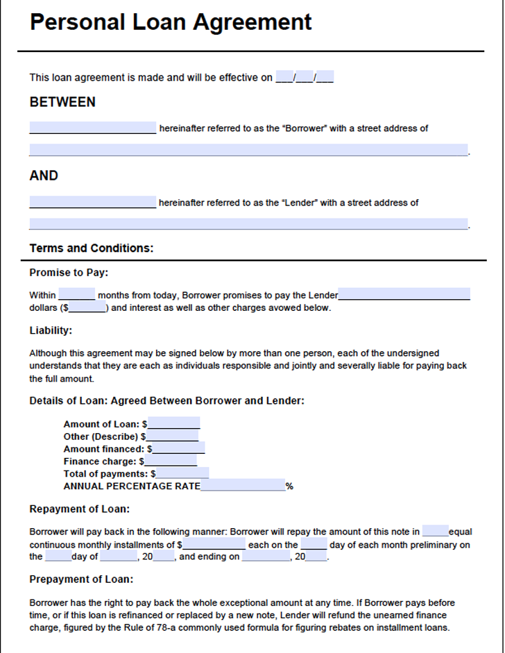 loan agreement form template to an individual individual loan