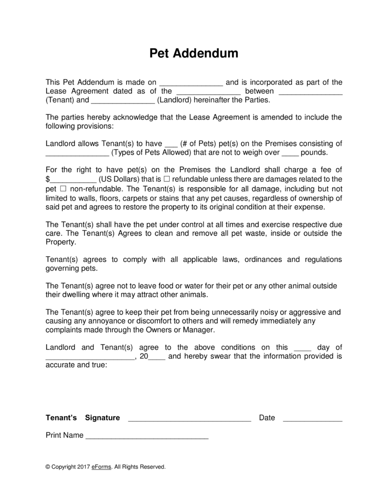 Free Pet Lease Addendum Template Word | PDF | eForms – Free