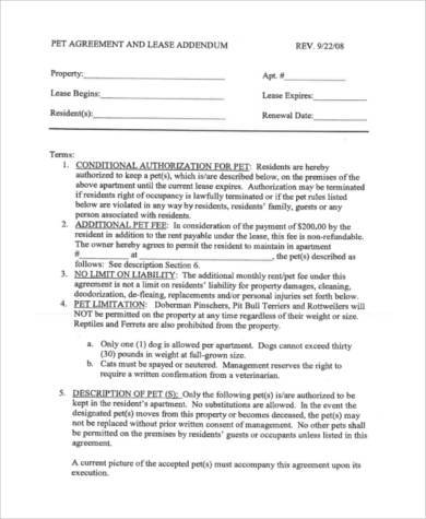 Pet Agreement Addendum Unique Sample Lease Agreements Documents