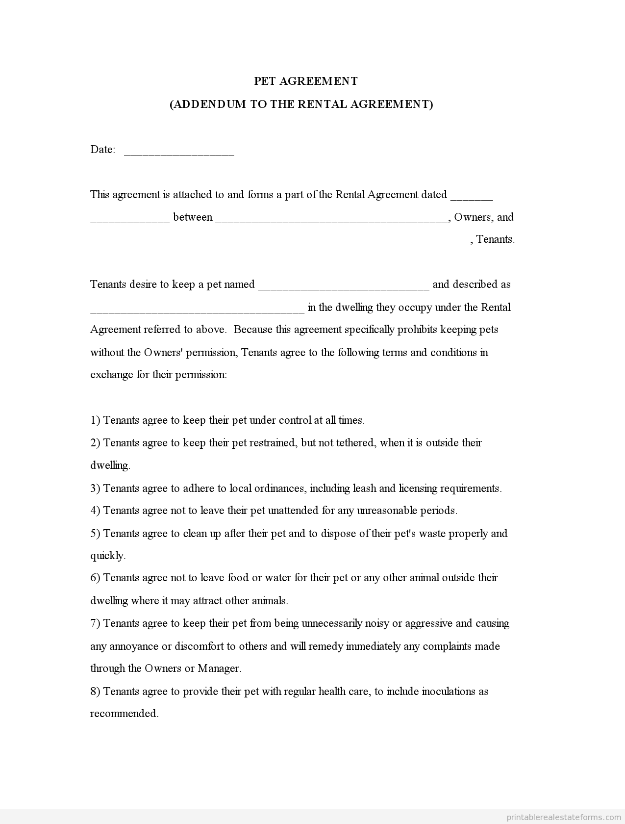 Pet Agreement Rental Fill Online, Printable, Fillable, Blank