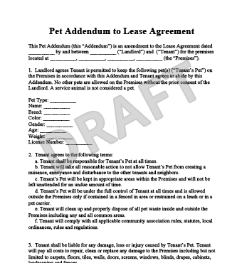 Free Printable Pet Addendum Forms Owners Pet Agreement